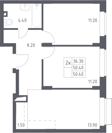 3Е-к.кв, 50.4 м²