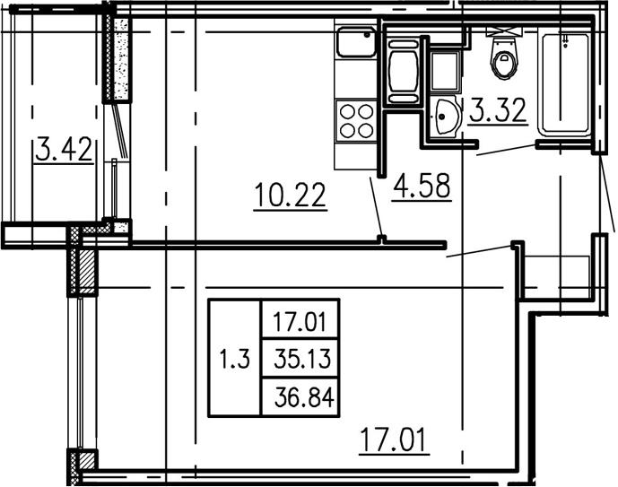 1-к.кв, 38.55 м²