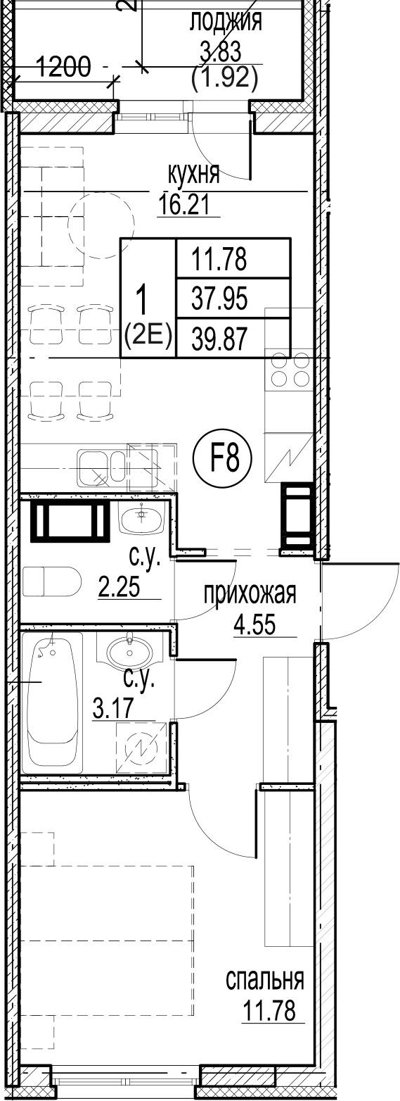 2-к.кв (евро), 41.79 м²
