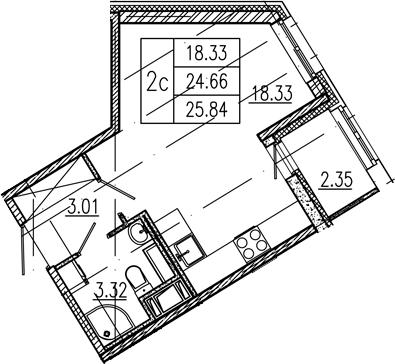Студия, 24.66 м²– 2