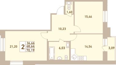 2-комнатная, 70.19 м²– 2