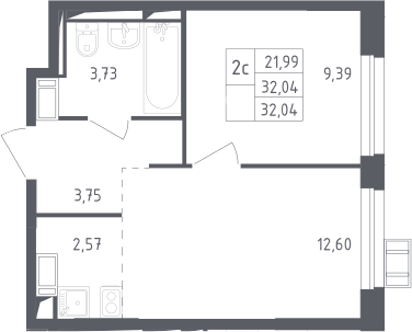 2Е-к.кв, 32.04 м²