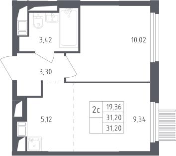 2Е-к.кв, 31.2 м², от 7 этажа