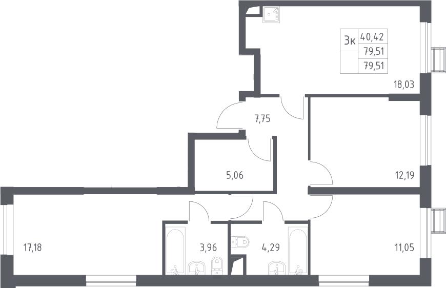 3-к.кв, 79.51 м²