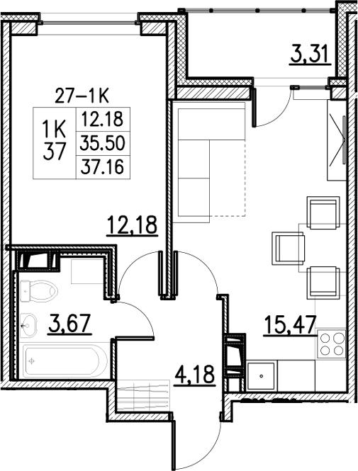 2Е-к.кв, 37.16 м²