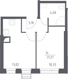 1-к.кв, 31.21 м²