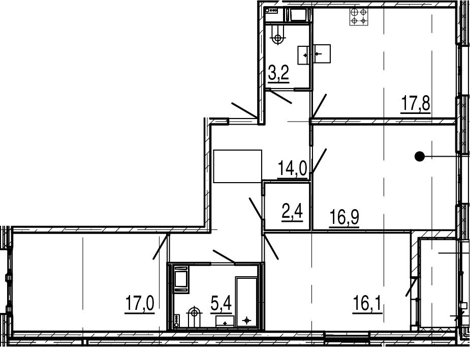 4Е-к.кв, 94.6 м², 8 этаж