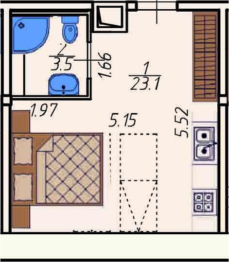 Студия, 26.6 м²– 2