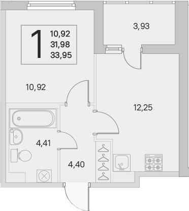 2Е-к.кв, 31.98 м², 1 этаж
