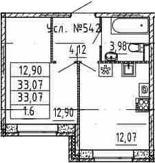 1-комнатная, 33.07 м²– 2
