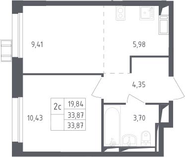2Е-к.кв, 33.87 м², 13 этаж