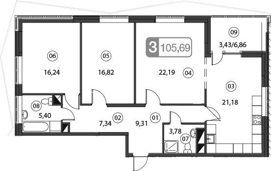 4Е-комнатная, 105.69 м²– 2
