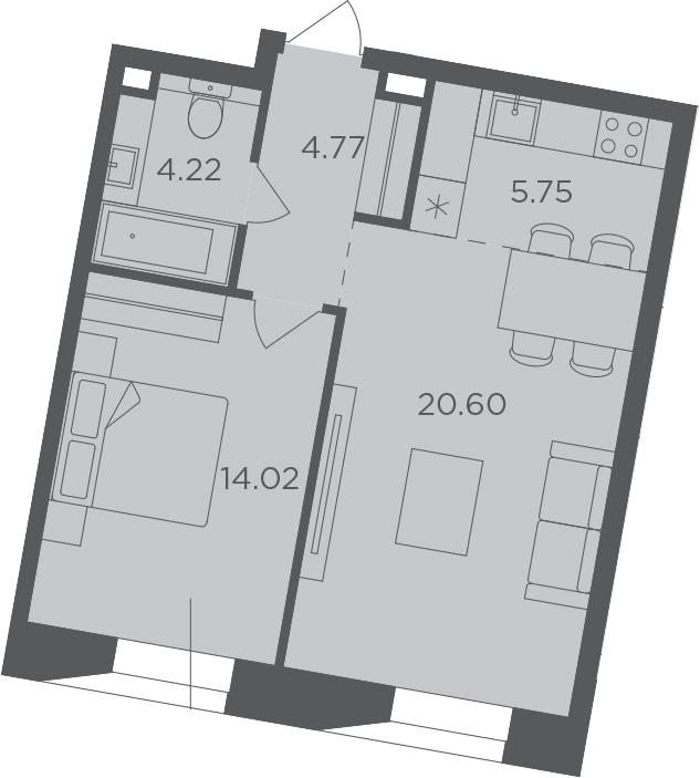 2Е-комнатная, 49.36 м²– 2