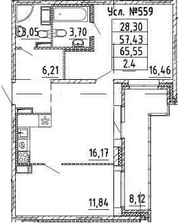 2-к.кв, 57.43 м²