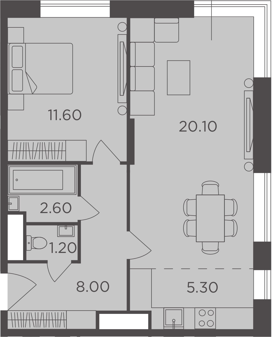 2Е-к.кв, 48.8 м², от 2 этажа