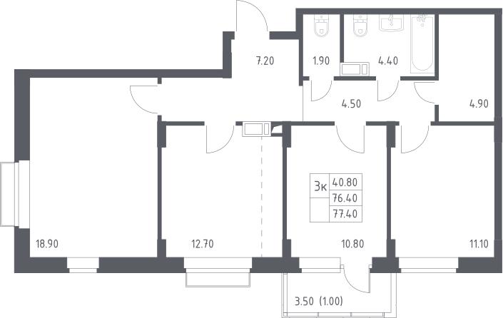3-к.кв, 77.4 м²