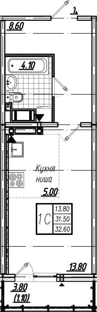Студия, 35.17 м²