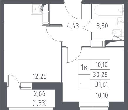 1-к.кв, 31.61 м², от 9 этажа