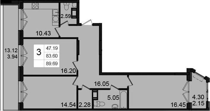 3-к.кв, 89.69 м²