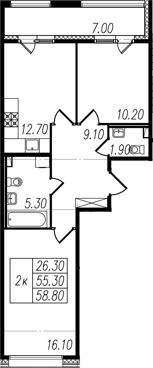 2-к.кв, 55.3 м², 1 этаж