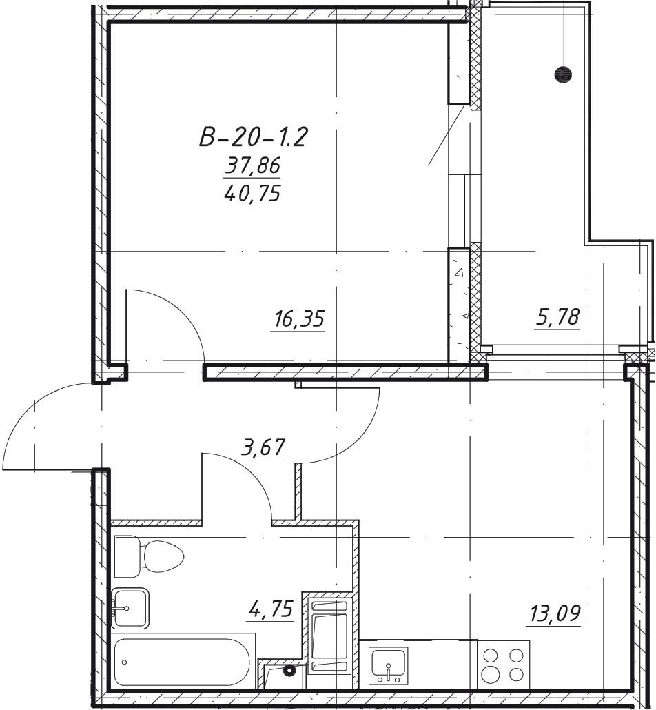 1-комнатная, 40.75 м²– 2