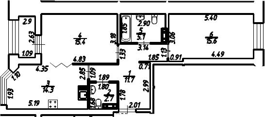 2-к.кв, 66.3 м², 4 этаж