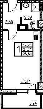 Студия, 28.58 м²