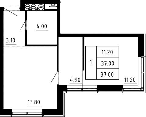 1-к.кв, 37 м², 11 этаж