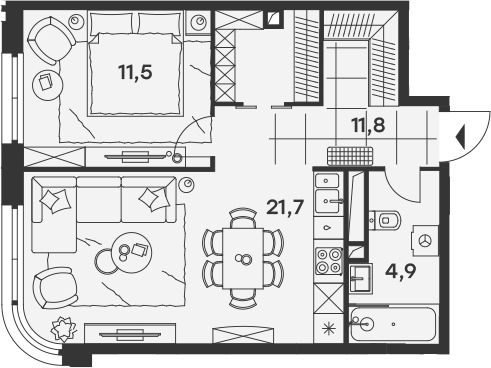 2Е-к.кв, 49.9 м²