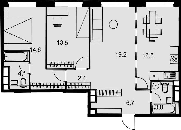 4Е-к.кв, 80.8 м², 29 этаж