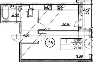 2Е-к.кв, 41.3 м²