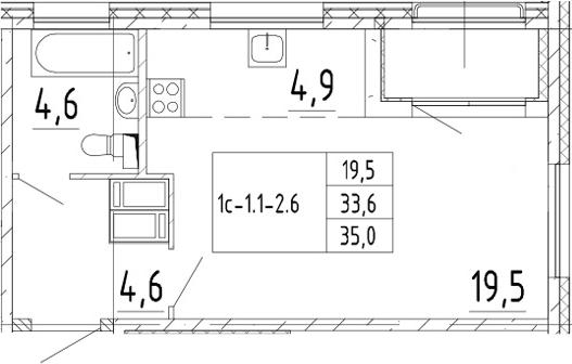 Студия, 35 м², от 4 этажа