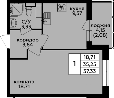 1-комнатная, 37.33 м²– 2
