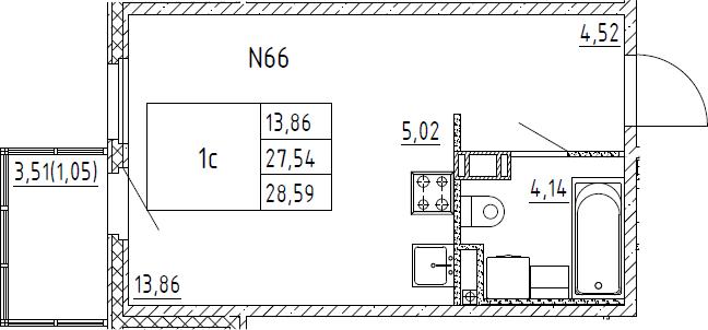 Студия, 28.59 м²– 2