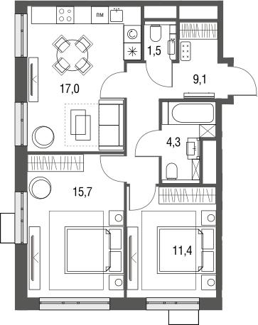 3Е-к.кв, 59 м², от 3 этажа