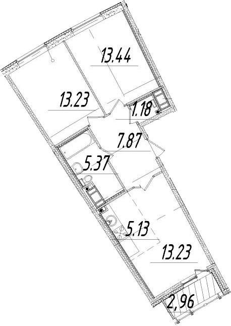 3Е-комнатная, 60.93 м²– 2
