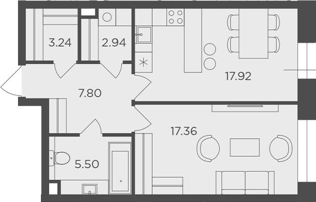 1-комнатная, 54.76 м²– 2