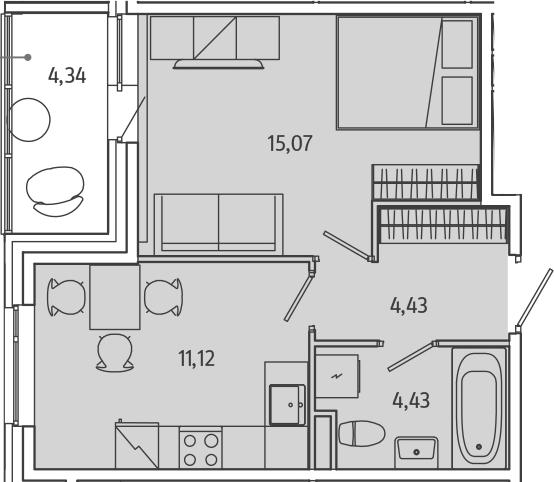 1-комнатная, 37.22 м²– 2