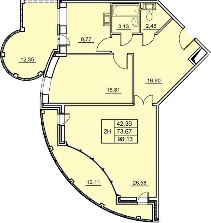 2-к.кв, 98.13 м²