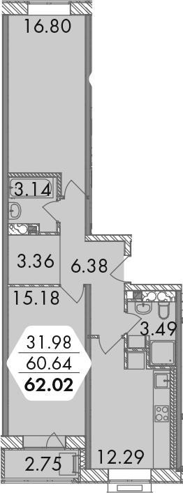 3Е-комнатная, 62.02 м²– 2