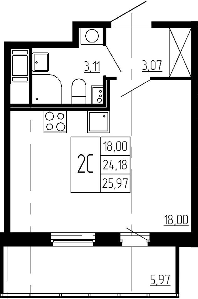 Студия, 24.18 м², 2 этаж