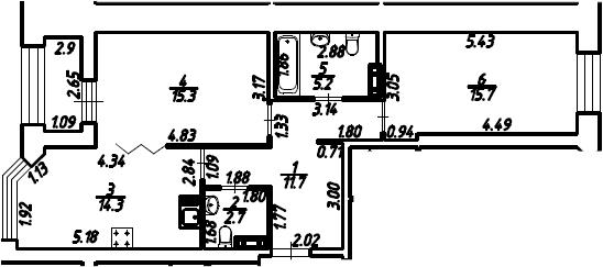 2-к.кв, 66.35 м², 3 этаж