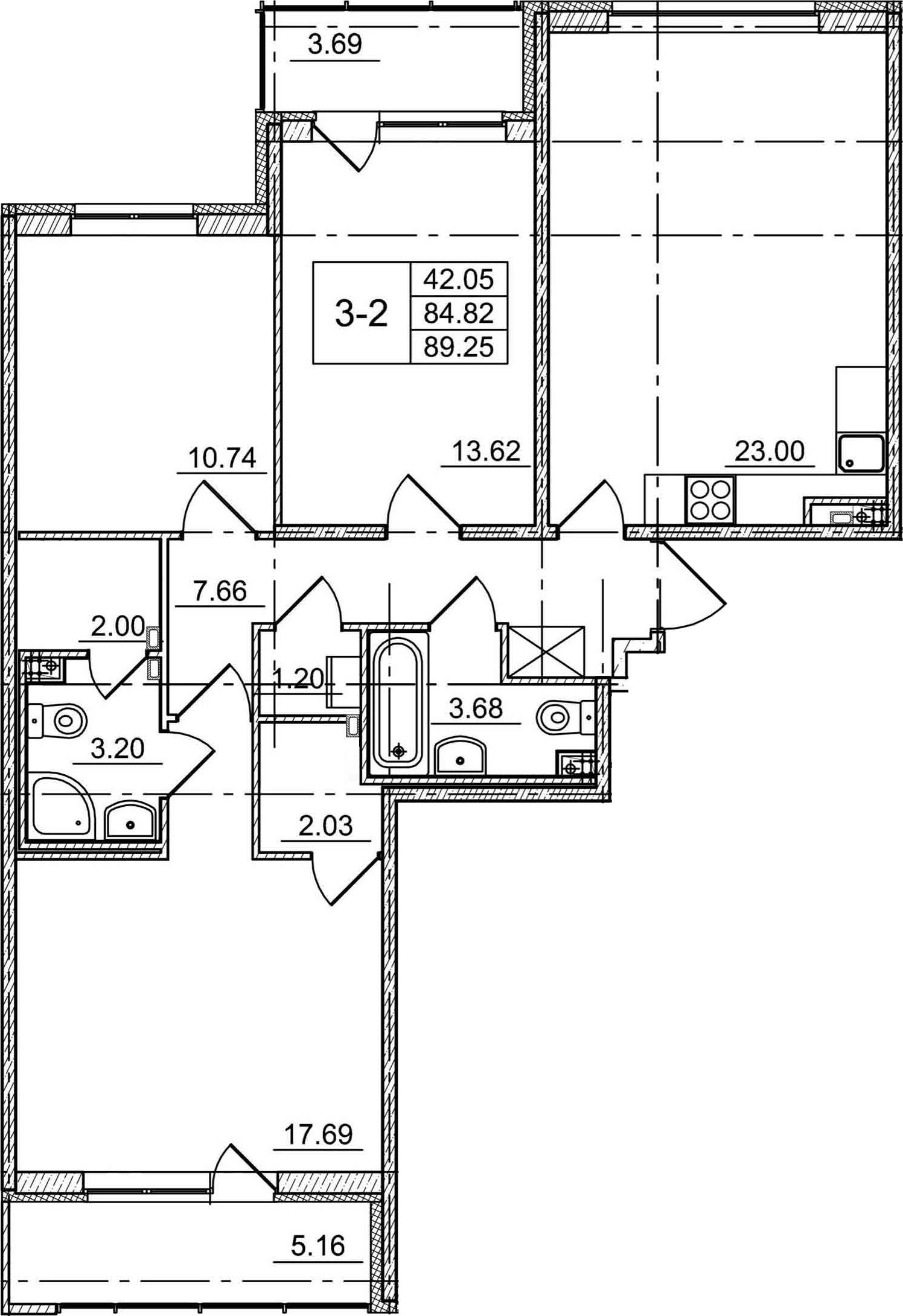 4Е-комнатная, 89.25 м²– 2