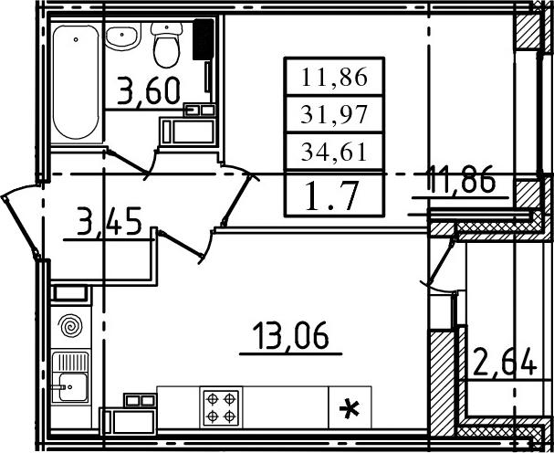 2-к.кв (евро), 34.61 м²