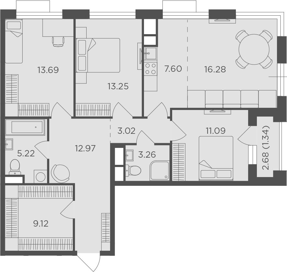 4Е-к.кв, 96.84 м²