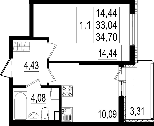 1-к.кв, 33.04 м²