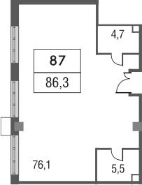 Свободная планировка, 86.3 м²– 2