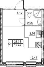 Студия, 23.38 м², 1 этаж