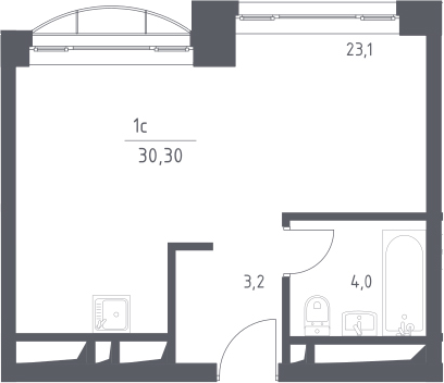 Студия, 30.3 м²
