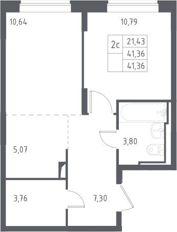 2Е-к.кв, 41.36 м², 11 этаж
